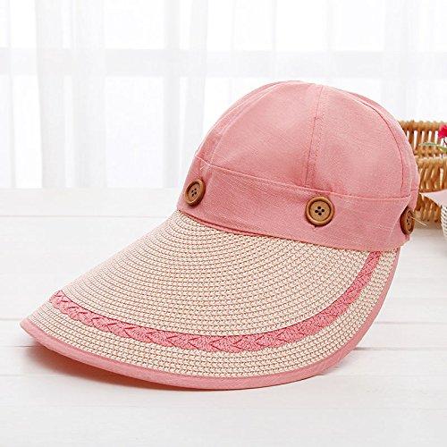 Le printemps et l'¨¦t¨¦ ¨¦quitation femmes pare-soleil le long de l'UV-cap chapeaux peuvent ¨ºtre repli¨¦s up tour chapeaux M(56-58cm) rose Pink