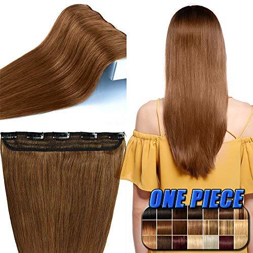Clip in Extensions Echthaar günstig Haarverlängerung 1 Tessse 5 Clips Haarteile Echthaar Remy Human Hair 55cm-55g(#6 Mittelbraun)