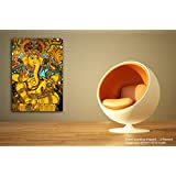 Tamatina Kerala Mural Canvas Paintings - Jai Sri Ganesh - Lord Ganesha Paintings - Traditional Art Paintings - Paintings For Home Décor - Paintings For Bedroom - Paintings For Living Room - Religious Canvas Paintings - Kerala Mural Paintings For Wa