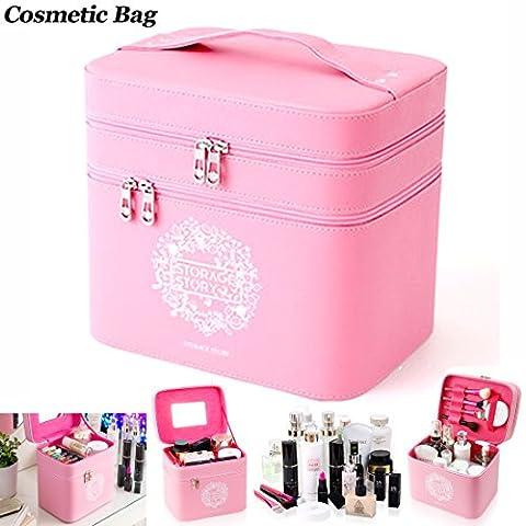 Cuir PU Portable double zone de stockage Cosmétique Sac de voyage multifonction Cosmétique Box (1pièce) rose rose