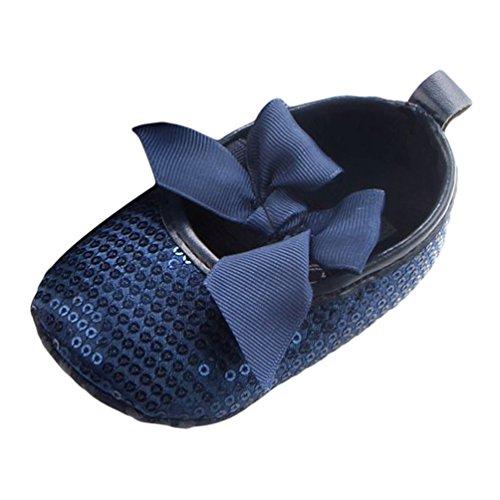 Dooxi Bébé Filles Bowknot Sequins Chaussures Princesse Ete Durable Semelle Souple Sandales Bleu