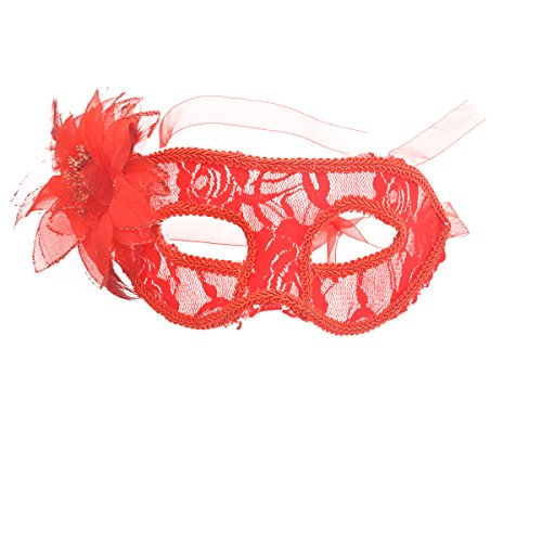 Frcolor Mode gefiederte Spitze Blume Dekor halbtransparente Maskerade Cosume Party Maske (rot)