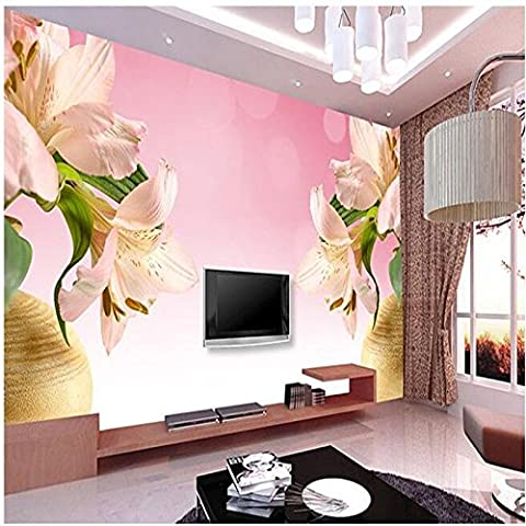 300cmX210cm 3d mural decor photo backdrop photography 3D stereo Pink lily vase living room coffee Hotels wall painting mural,300cmX210cm