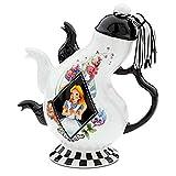 Disney Parks Alice in Wonderland Mad Hatter Pattern Ceramic Triple Spout Teapot by Disney