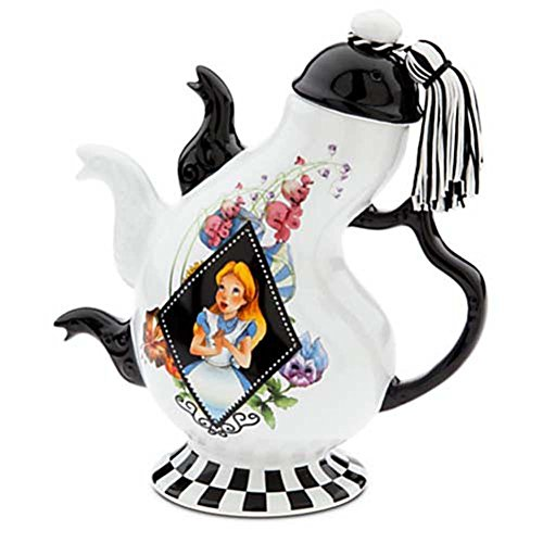 Disney Parks Alice in Wonderland Mad Hatter Pattern Ceramic Triple Spout Teapot by Disney (Mad Hatter Tea Cup)
