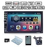 LSLYA Bluetooth Car Radio, Auto Radio Dual 2 Din Car Stereo Schermo Bluetooth 7 '' Navigazione GPS Touch MP5/TF/SD/USB/Media Player Controllo volante/FM/AM/RDS Tuner e Radio HD, Nero