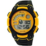 Ravel Gents Alarm Stop Watch Digital LCD Black & Yellow PU Strap Watch RDG-19