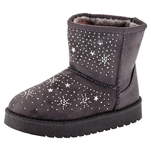 Gefütterte Mädchen Boots Stiefel mit süssen Sternchen in vielen Farben (32, #241gr Grau)