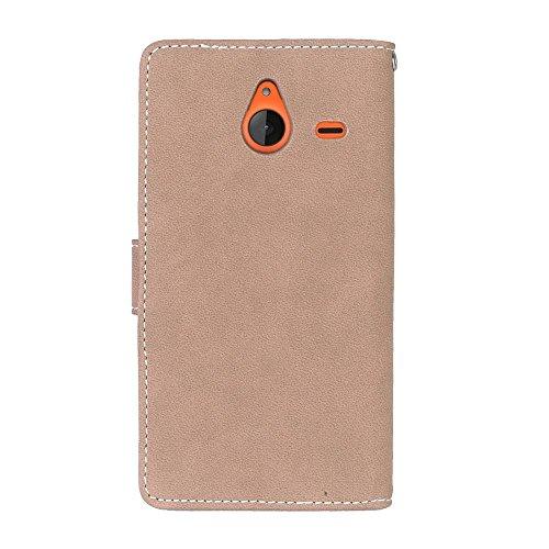 Solid Color Premium PU-Leder Tasche Cover matt Retro Flip-Ständer Case Wallet Fall mit Kartensteckplätze Photo Frames für Nokia Microsoft Lumia 640XL ( Color : 6 ) 5