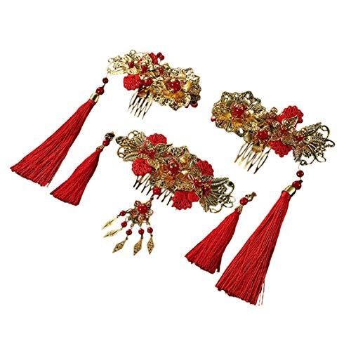 Koojawind Braut Kopfschmuck, Chinesische Braut Tiara KostüM Show Wo Kleidung Rot Antik, Braut Hochzeit Kopf Pin Kopfschmuck Braut Brautjungfer Hochzeit ZubehöR (Judas Kostüm)