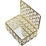 SAARTHI Rectangle Large Crystal Jewelry Box Copper, Diwali Gifts | Home Decor Handicrafts | Home Decor | Home Decorative Items In Living Room, Bedroom | Traditional Unique Designer Small Brass Crystal Box