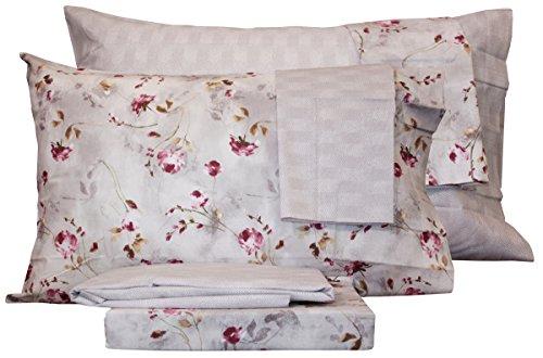 Completo letto lenzuola cotone zucchi basics doppia federa matrimoniale due 2 piazze sopra + sotto + 4 federe (emotions rosa)