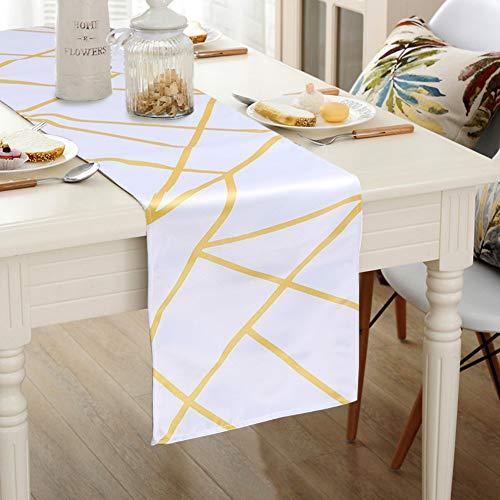 Aparty4u 32x182cm Tischläufer weiß und Gold geometrisches Muster Tischläufer für stilvolle klassische Hochzeit Home Decor Tischdekoration, waschbar 100% Polyester Tuch (Tischdekoration Und Gold Weiß)