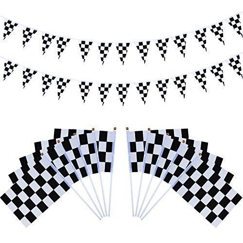 Lvcky 40Stück Checkered Racing Flaggen mit Kunststoff-Sticks und 27,9Füße Checkered Wimpel Banner für Geburtstag Race Mottoparty Party Sport Events