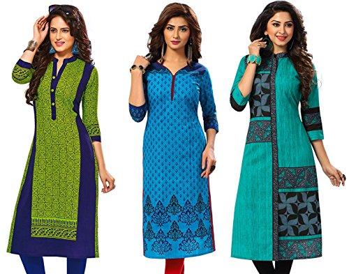 Jevi Prints Women's Kurti Fabrics (Pack Of 3) (Saheli-1407-1509-1512_Multi-Coloured)
