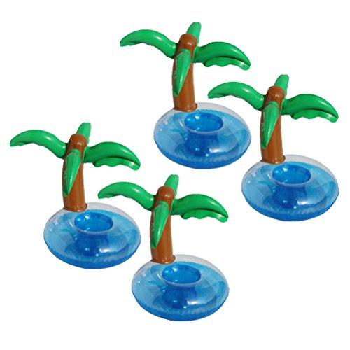 BESTOYARD 4 STÜCKE Aufblasbare Getränkehalter Kokosnuss Bäume Palmen Untersetzer Jumbo Beach Hintergrund für Hawaiian Luau Party Supplies