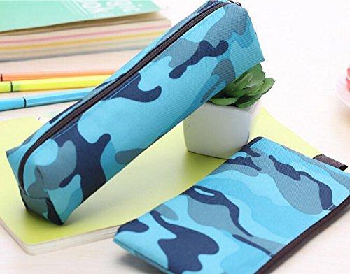 blueqier Camuflaje Lienzo Escolar Bolso Bolso de Lápiz de Gran Capacidad Estuche para Estudiante Camuflaje Azul