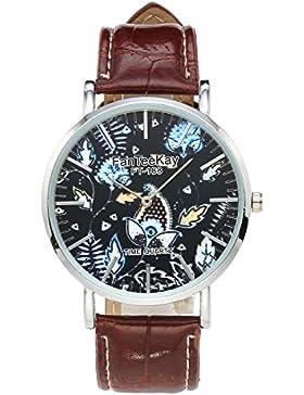 JSDDE Uhren,Casual Armbanduhr Pflanzen Mode Zeitloses Design Silber Analog Quarzuhr Lederarmband Lederuhr,Braun