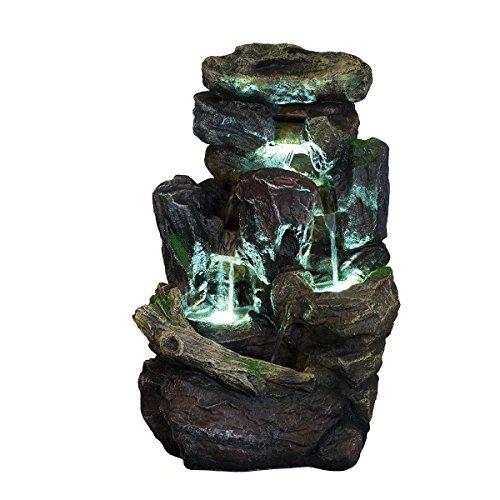 XL Brunnen Steine, Moos,Wasserfall mit 3 LED Leuchten,G53-2913B, (Brunnen8), LED Lampen, Dekobrunnen, Springbrunnen, Wasserspiele Vogelbad MIT elektrischer Pumpe , 58 cm hoch, Deko, Polyresin, Gartendekoration,