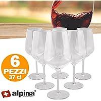 Set 6 Bicchieri Da Vino 37 cl Alpina Switzerland Cristallo Tavola Ristorante Bar
