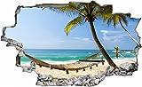 DesFoli Urlaub Strand Meer Hängematte 3D Look Wandtattoo 70 x 115 cm Wand Durchbruch Wandbild Sticker Aufkleber C222