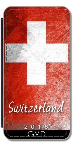 Leder Flip Case Tasche Hülle für Apple iPhone 6/6S - Schweizer Flagge by Julien Kaltnecker Lederoptik