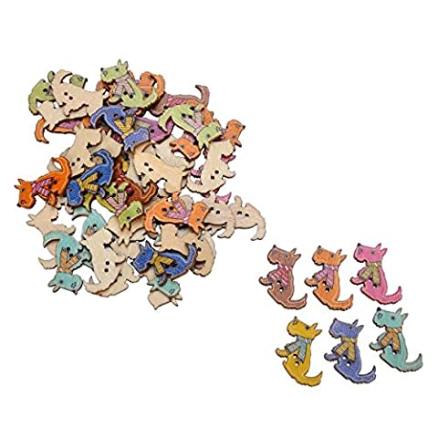 HOUSWEETY Mixed 50PCs 2 Holes Cute Dog Wooden Buttons for