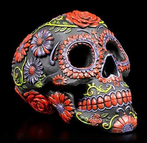 Figuren Shop GmbH Mexikanischer Gothic Totenkopf - Sugar Blooms | Fantasy-Artikel, Handbemalt