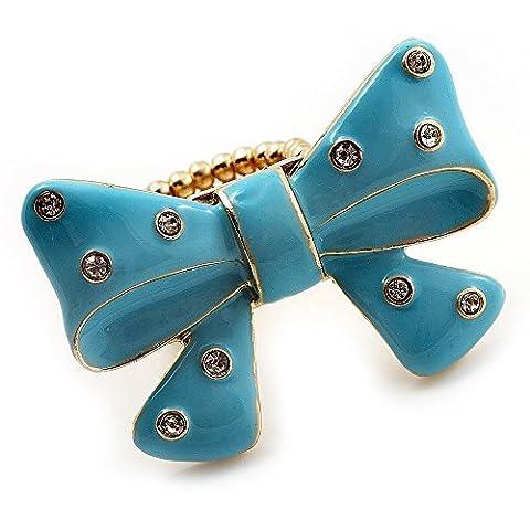 Large Bright Blue Enamel Crystal Bow Stretch Ring (Size 7-9) by Avalaya