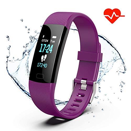Akuti Fitness Armband mit Pulsuhr, IP68 Wasserdicht Fitness Tracker Uhr mit 4 Trainingsmodi/Kalorie Strecke Schrittzähler/Schlafmonitor/ Anruf SMS Whatsapp Melden für iPhone Android Handy, Lila