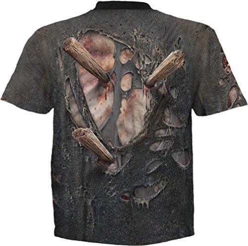 Spiral Zombie Wrap T - Shirt Gothic Bones Skelett Schwarz
