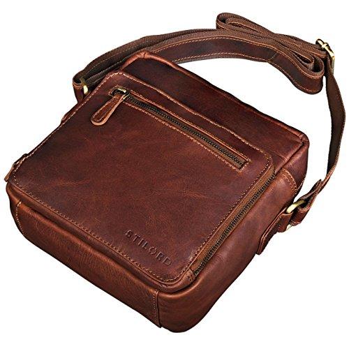 STILORD 'Nathan' Borsello da Uomo a tracolla in pelle Piccola borsa messenger in Cuoio a Spalla per Viaggi Escursioni, Colore:cognac marrone scuro cognac marrone scuro