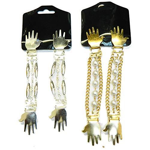 Blusenraffer 2 Paare Ärmelhalter Set A handformige Clips silber und gold Ärmelraffer