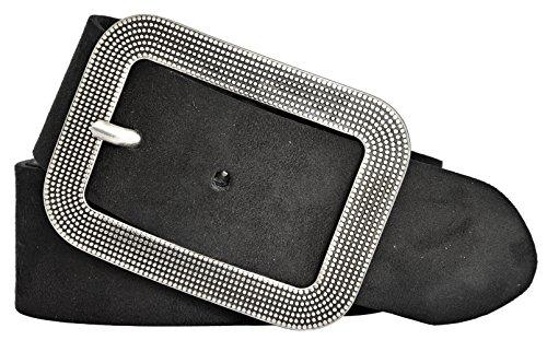 Vanzetti Damen Leder Gürtel Veloursleder Damengürtel schwarz 40mm (105 cm)