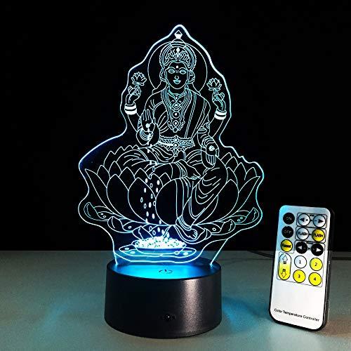 Guanyin Bodhisattva Lámpara 3D Acrílico transparente Luz de cama creativa Interruptor táctil...