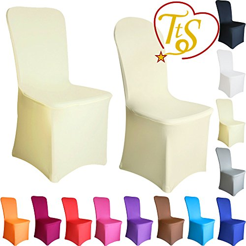 Chair Covers Spandex Lycra Cover Wedding Banquet Anniversary Party Decoration Flat Front #04 Ivory