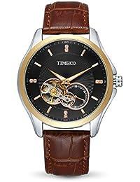 Time100 Montre Homme Automatique Mécanique Squelette Fashion Mode Exquise Distinguée Multifonctionnel bracelet en cuir véritable