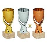 tecnocoppe Tris di Coppe economiche in ABS Dorato Cromato bronzato h 16,00 cm Premiazioni Sportive Targhetta Personalizzata Omaggio