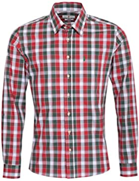 Almsach Trachtenhemd Luitpold Slim Fit Mehrfarbig in Rot, Dunkelgrün und Weiß Inklusive Volksfestfinder