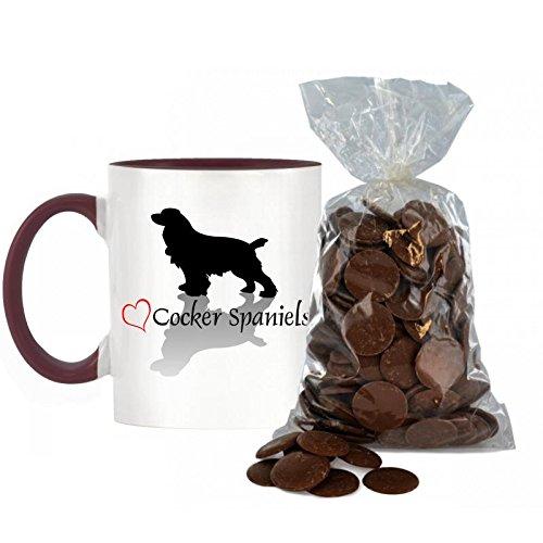 Stilvolle Herz Design Cocker Spaniel bicolor Tasse mit Burgund Griff und inneren inkl. 200g Beutel von Milch Schokolade Tasten. -