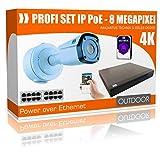 Set di telecamere di sorveglianza Ultra HD, 4 K PoE NVR 8.0 MP - IP PoE Recorder senza hard disk, 4 X PoE Camera 4 X 30 m cavo Cat6