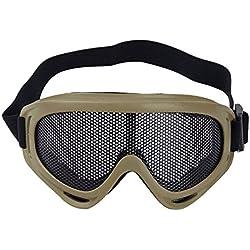 Sijueam reg; Masque Grillagé Airsoft Lunettes de Tir Anti-buée métal Protection des Yeux pour CS Pistolet Guerre Jeux Bataille Paintball Chasse Cyclisme - Kaki