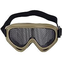 Sijueam® – Máscara de rejilla Airsoft, gafas de tiro antivaho, de metal, protección de los ojos para pistolas de juegos, paintball, caza, ciclismo o actividades exteriores, caqui