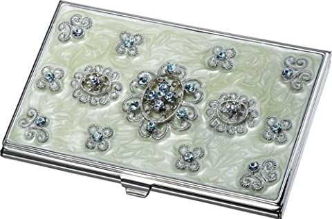 Visol Products Carmela Light Vert Marble and Bleu Crystals Business Card Holder