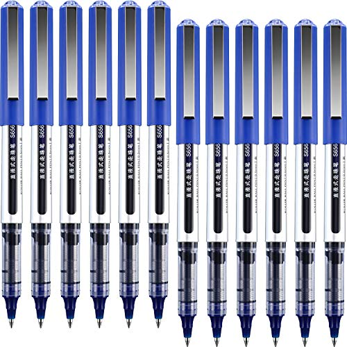 12 Pezzi Penne a Sfera, Inchiostro ad Asciugatura Rapida 0.5 mm Penne Extra Fine Punto Penne con Inchiostro Liquido Penne a Sfera (Blu)