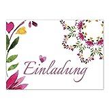 12 x Einladungskarten und 12 Umschläge im Set für jeden Anlass / Love Flowers / Einladung Geburtstag / Party / Einweihung / Feier / Geburtstagseinladungen Din A6
