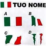 Scritta Adesiva Personalizzata con nome e Bandiera Italia, Nomi Personalizzabili, Adesivi Personalizzati con Bandiera…