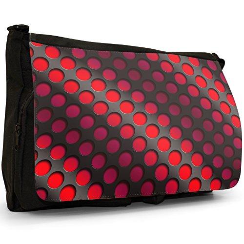 Onda astratta 3d–Borsa Tracolla Tela Nera Grande Scuola/Borsa Per Laptop Red Abstract 3D Wave