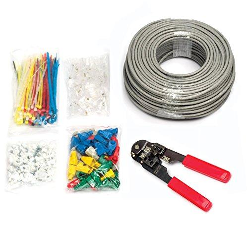 MutecPower - CAT5E Patchkabel [100m] - UTP - Ethernet Netzwerkkabel - GRAU - Mit Crimpzange + 50 RJ45 PCS + 100 Kabelschellen + 100 Kabelbinder + 50 Anschlussteckers - CCA - 100 meter