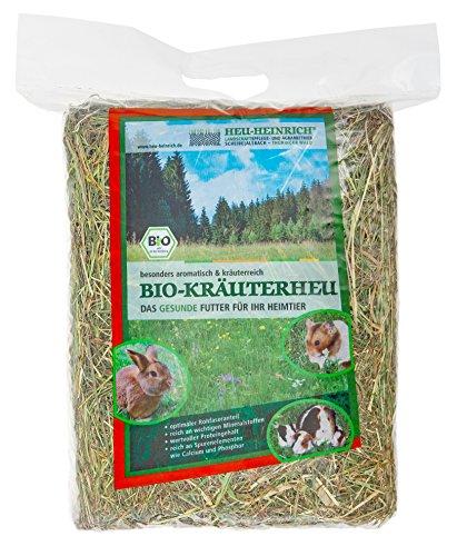 Heu-Heinrich® 4 x 1kg Bio - Bergwiesen - Kräuterheu aus dem Naturpark Thüringer Wald für Kaninchen Meerschweinchen Nager - Heu Ernte 2019